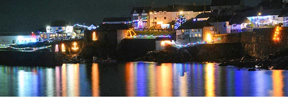 The village harbour Christmas lights